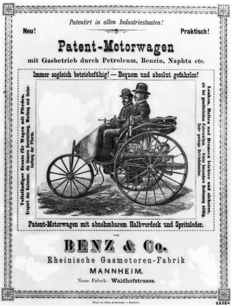 Une publicité d'époque pour la Patent-Motorwagen Benz